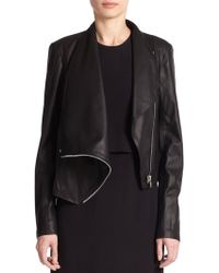 Helmut Lang Draped Leather Jacket - Lyst