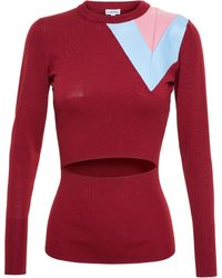 Loewe Wool Jumper With Cut-Out And Leather Panel - Lyst