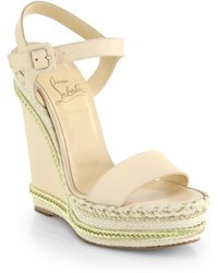 Christian Louboutin Duplice Leather Espadrille Wedge Sandals - Lyst