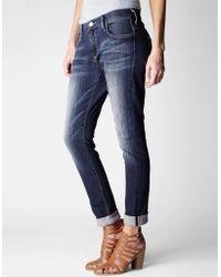 True Religion Audrey Slim Relax Rolled Crop Jeans - Lyst