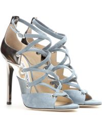 Jimmy Choo Linger Suede and Leather Sandals - Lyst