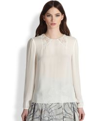 Honor Silk Laceinsert Blouse - Lyst