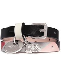 Alexander McQueen Skull Charm Double Wrap Kansai Print Leather Bracelet multicolor - Lyst