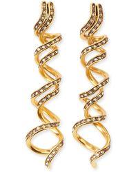 Oscar de la Renta Pave Crystal Spiral Earrings - Lyst