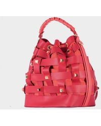 """Salar Hammered Red Leather """"Billy"""" Bag - Lyst"""