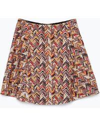 Zara Jacquard Mini Skirt - Lyst