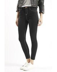 Topshop Petite Moto Saddle Stitch Jamie Jeans black - Lyst