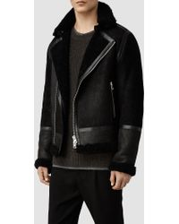 AllSaints Union Shearling Leather Jacket - Lyst