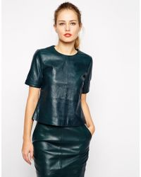 Oasis Leather Co-ord Top - Lyst