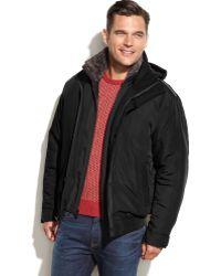 Weatherproof Ultra Oxford Hooded Faux-Fur-Collar Bomber - Lyst