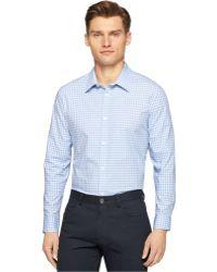 Calvin Klein Tonal Ombre Check Shirt blue - Lyst