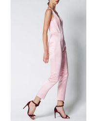 Katie Ermilio - Carnation Pink Satin Matchstick Jumpsuit - Lyst