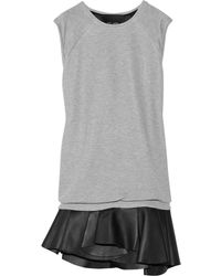 Jay Ahr Jersey and Leather Mini Dress - Lyst