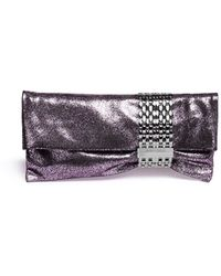 Jimmy Choo 'Chandra' Chain Clasp Glitter Nappa Leather Clutch - Lyst