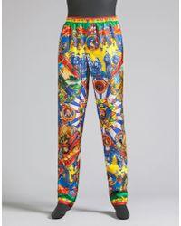 Dolce & Gabbana | Pyjama Trousers In Printed Silk | Lyst