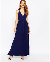 Adelyn Rae - Plunge Maxi Dress With Cut Out Back Detail - Lyst