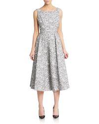 Vera Wang Lace Stripe Midi Dress black - Lyst