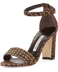 Manolo Blahnik Lauratostud Leopard-Print Sandal - Lyst