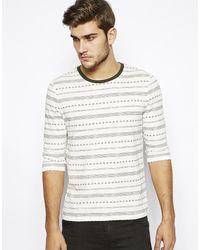 Asos Stripe 34 Sleeve Tshirt - Lyst