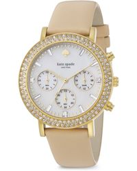 Kate Spade Metro Grand PavÉ Goldtone Stainless Steel & Vachetta Leather Strap Chronograph Watch - Lyst