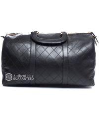 Chanel Pre-Owned Lambskin Vintage Medium Boston Travel Bag - Lyst
