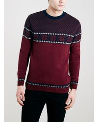 Topman Burgundy Snowflake Christmas Sweater - Lyst