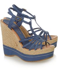 Paloma Barceló Braided Leather Wedge Espadrille Sandals - Lyst