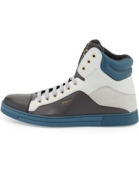 Ferragamo Stephen 2 Mens Leather High-Top Sneaker - Lyst