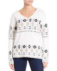 Sanctuary - Hooded Patterned Jumper - Lyst