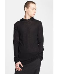 Rick Owens Hooded Sweater - Lyst