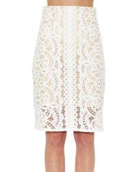 Lover Poppy Macramé-Lace Pencil Skirt white - Lyst