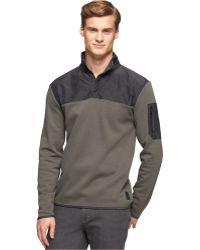 Calvin Klein Snap-Front Mixed Media Fleece Sweater - Lyst