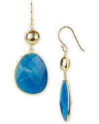 Argento Vivo Hand-Pressed Double Drop Earrings blue - Lyst