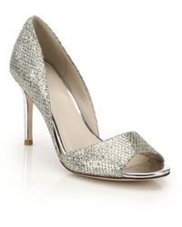 Cole Haan Antonia Snake-Embossed LamÉ Pumps silver - Lyst