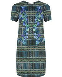 Matthew Williamson Tartan Blanket Embroidered Shift Dress - Lyst
