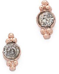 Shashi Mini Ballerina Stud Earrings - Rose Gold/Clear - Lyst