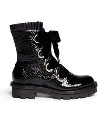 Alexander McQueen Velvet Laceup Patent Leather Boots - Lyst