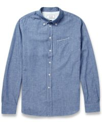 Officine Generale Button Down Collar Chambray Shirt - Lyst