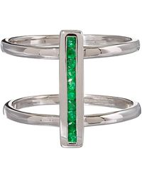 Anna Sheffield - Silver Pave Emerald Licol Ring - Lyst