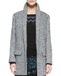 Pam & Gela - Check Tweed Long Coat Blue Check Petite - Lyst