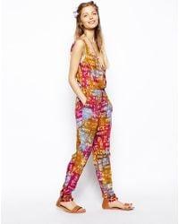 Asos Plunge Jumpsuit in Batik Print - Lyst