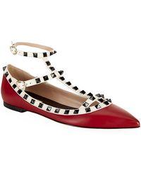 Valentino Rockstud Leather Ballet Flat - Lyst