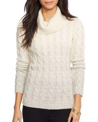 Ralph Lauren Lauren Ombré Cable Knit Sweater - Lyst