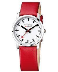 Mondaine - 'simply Elegant' Leather Strap Watch - Lyst