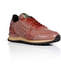 Valentino Leather Rockstud Sneakers - Lyst