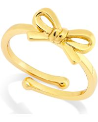 Kate Spade Gold-Tone Bow Adjustable Ring - Lyst