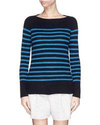 Vince Breton Stripe Cashmere Rib Knit Sweater - Lyst