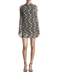 Tracy Reese - Long-sleeve Mock-neck Lace Mini Dress - Lyst