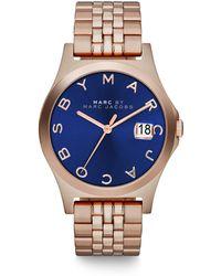 Marc By Marc Jacobs Henry Slim Rose Goldtone Stainless Steel Bracelet Watch/Dark Blue - Lyst