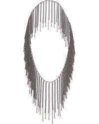 Fallon Classique Fringe Necklace - Gunmetal - Lyst